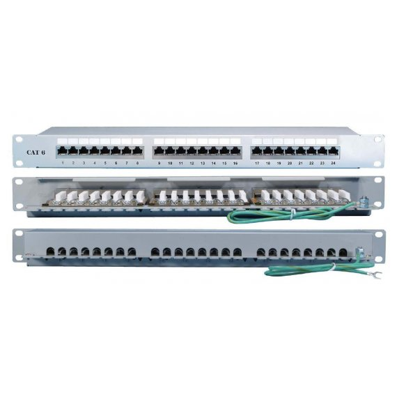 "PP2-19-24-8P8C-C6A-SH-110D Патч-панель 19"", 1U, 24 порта RJ-45 полн. экран., категория 6A, 110 IDC Hyperline"