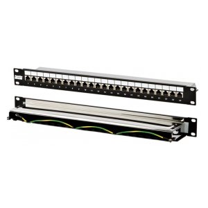 "PP-19-24-8P8C-C5e-SH-110D Патч-панель 19"", 1U, 24 порта RJ-45 полн. экран., категория 5e, Dual IDC Hyperline"