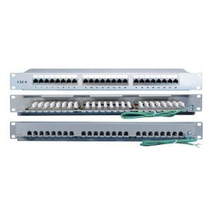 "PP2-19-24-8P8C-C6-SH-110D Патч-панель 19"", 1U, 24 порта RJ-45 полн. экран., категория 6, 110 IDC Hyperline"